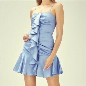 NWOT Keepsake For Me Ruffle Trim Satin Dress